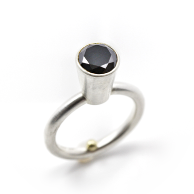 black spinal sterling silver ring