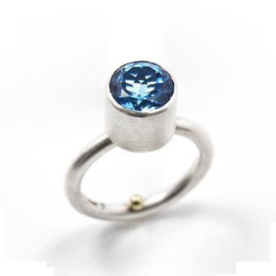 swiss blue topaz silver ring