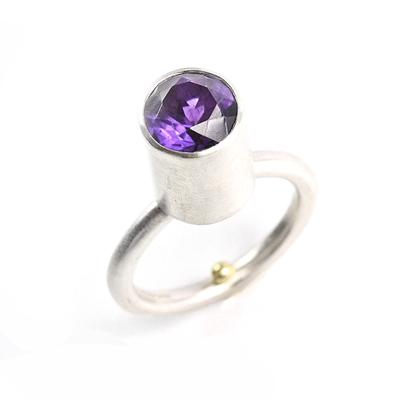 deep amethyst sterling silver ring
