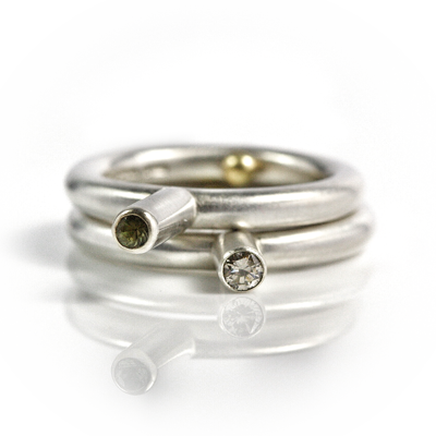 black and champagne diamond sterling silver rings