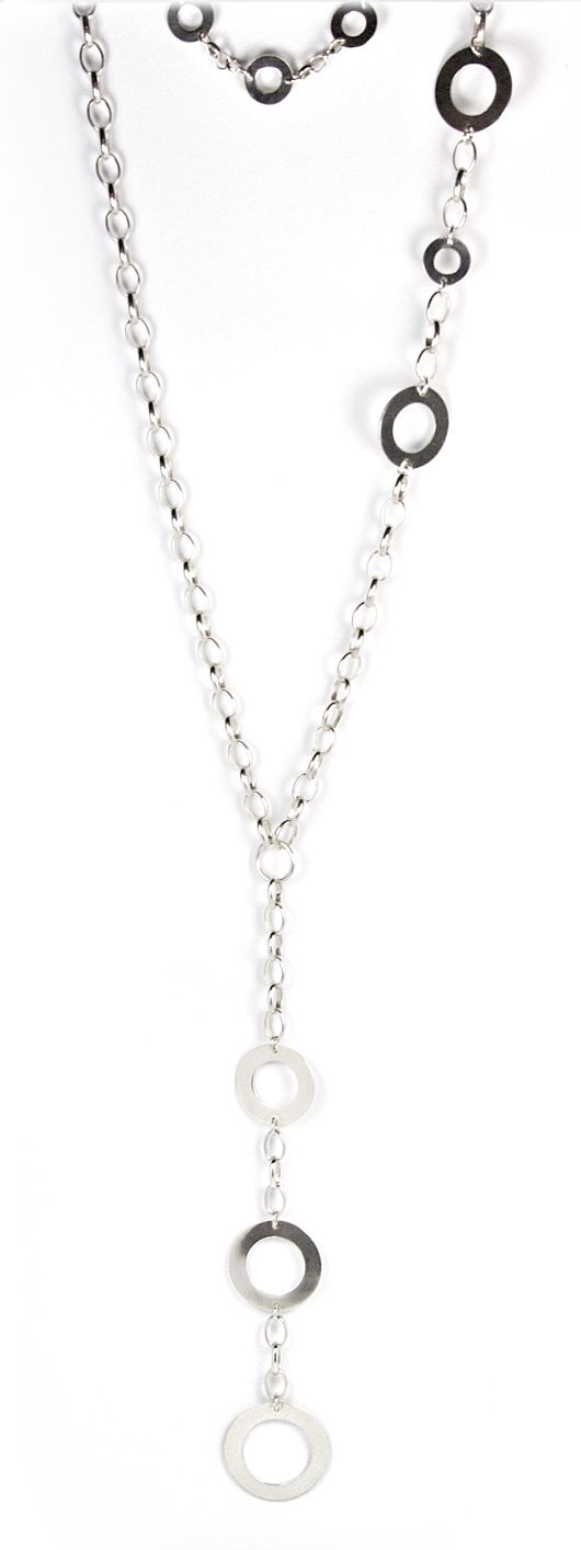 long 3 in 1 silver necklace with round links