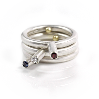 sapphire, diamond, ruby sterling silver rings