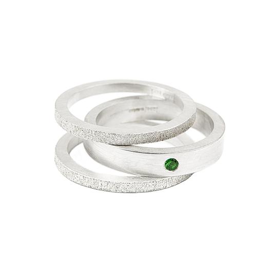 stacking rings, green garnet